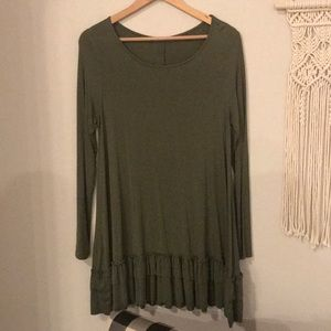 Olive green long sleeved top with ruffled hem